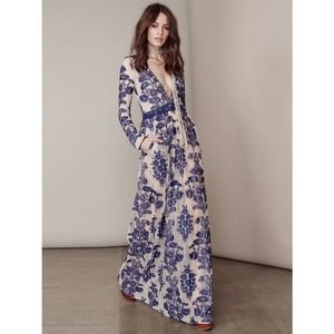 For Love & Lemons Dress Small Blue Temecula Maxi Embroidered Lace Long Sleeve